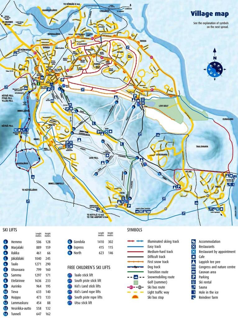 Схема горнолыжных трасс и склонов в Levi