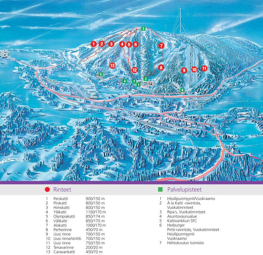 Карта лыжных склонов Вуокатти