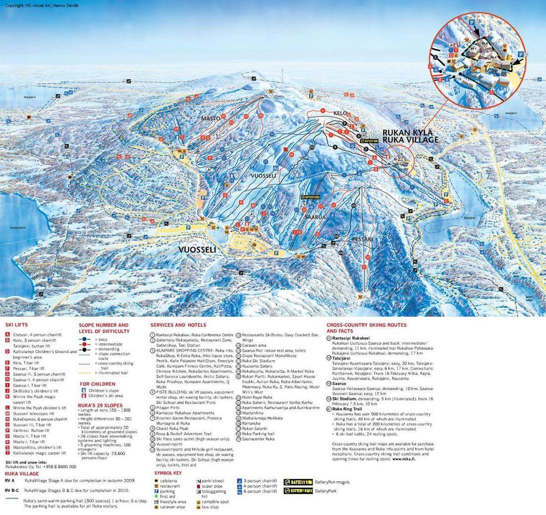 Рука схема лыжных трасс