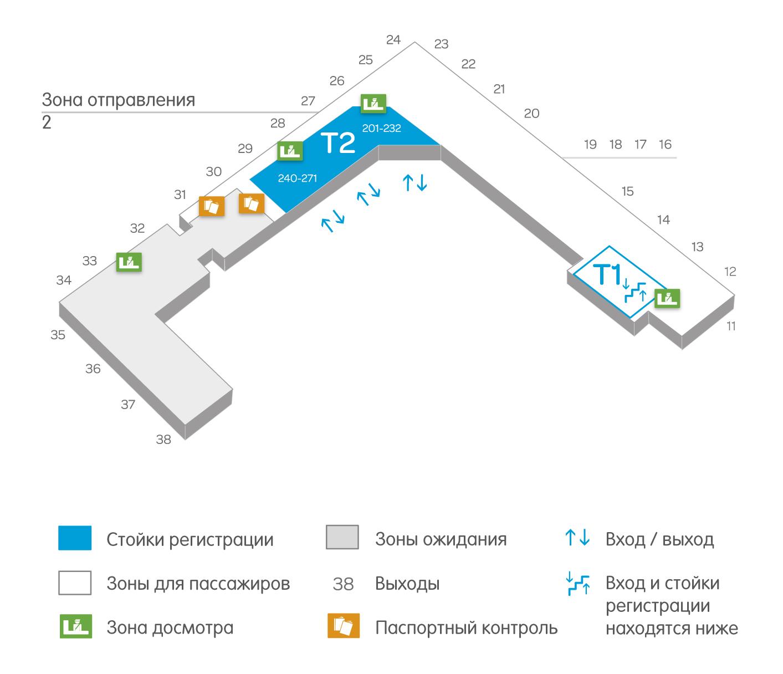 Схема рапсоложения стоек регистрации и терминалов в аэропорте Вантаа Хельсинки