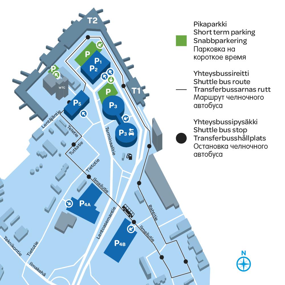 Схема расположения стоянок и автобусных остановок в аэропорте Вантаа