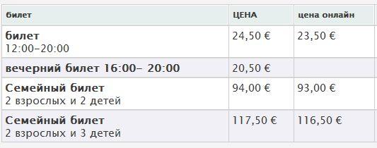 цена на билета в Серена