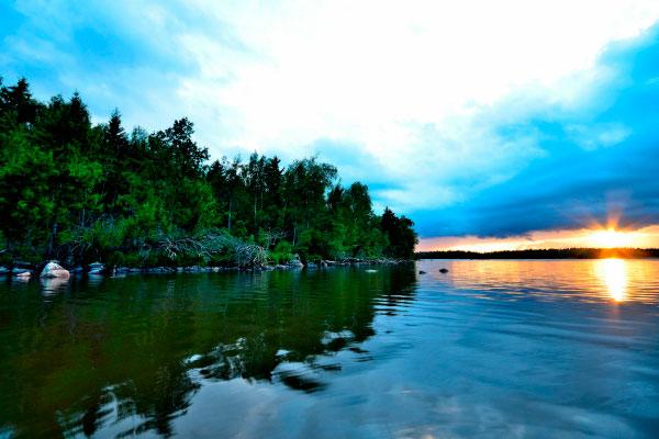 Закат на озере Меларен.